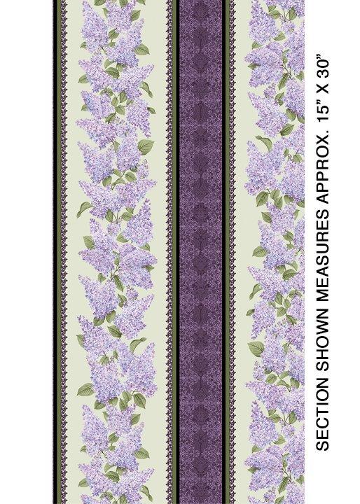 Lilacs in Bloom Stripe Sage from Benartex