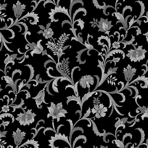Lilacs in Bloom Vine Scroll in Black from Benartex
