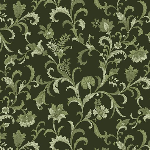 Lilacs in Bloom Vine Scroll Green from Benartex