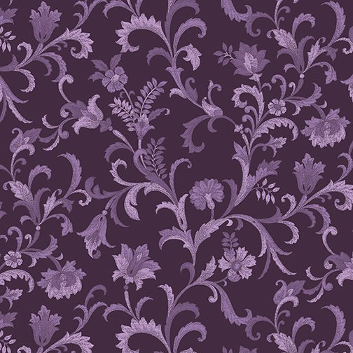 Lilacs in Bloom Vine Scroll in Plum from Benartex