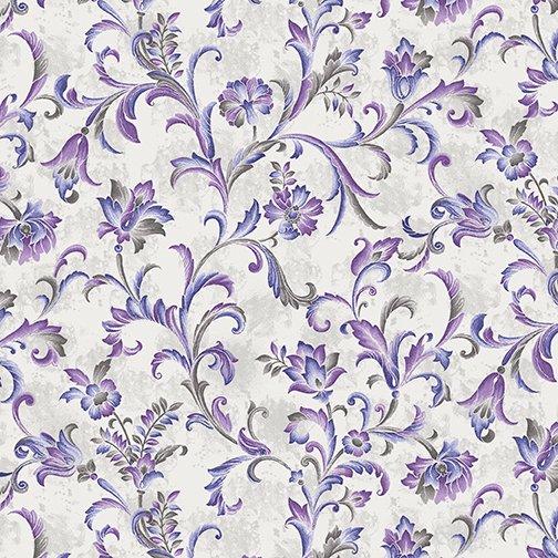 Lilacs in Bloom Fresco Scroll Violet from Benartex