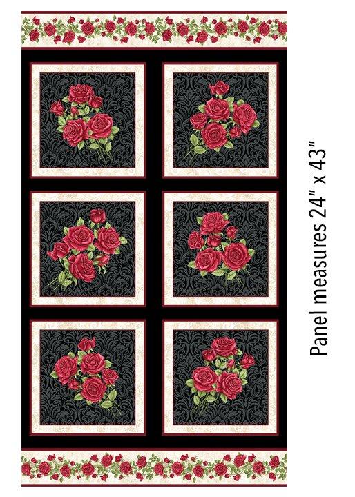 A Festival of Roses Festive Roses Panel in Black form Benartex