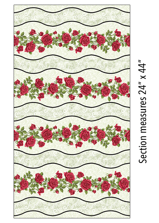 A Festival of Roses Festive Roses Stripe in Green From Benartex