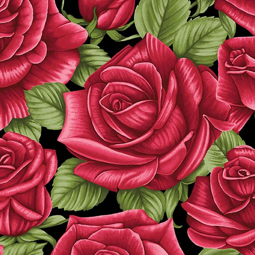 A Festival of Roses Festive Roses Black from Benartex