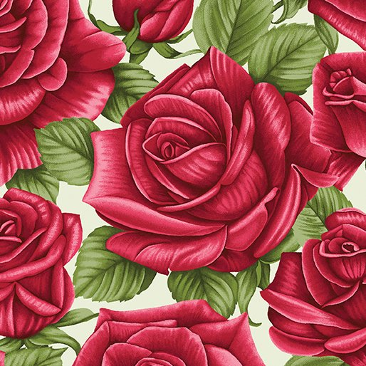 A Festival of Roses Festive Roses Green from Benartex