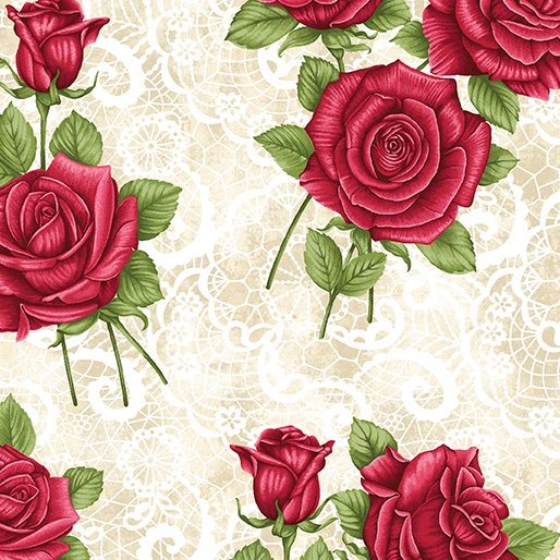 A Festival of Roses Festive Lace Roses in Cream From Benartex