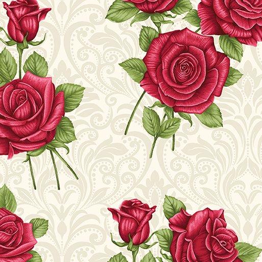 A Festival of Roses Festive Damask Roses Cream from Benartex