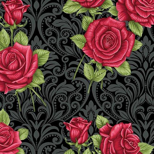 A Festival of Roses Festive Damask Roses Black from Benartex