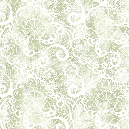A Festival of Roses Festive Lace Green from Benartex