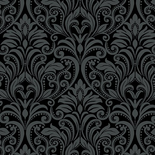 A Festival of Roses Festive Damask Black from Benartex