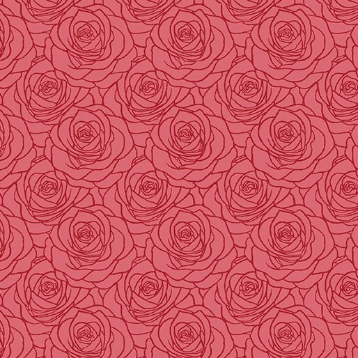 A Festival of Roses Outline Roses Red from Benartex