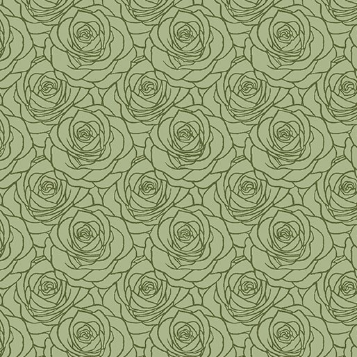 A Festival of Roses Outline Roses in Medium Green from Benartex