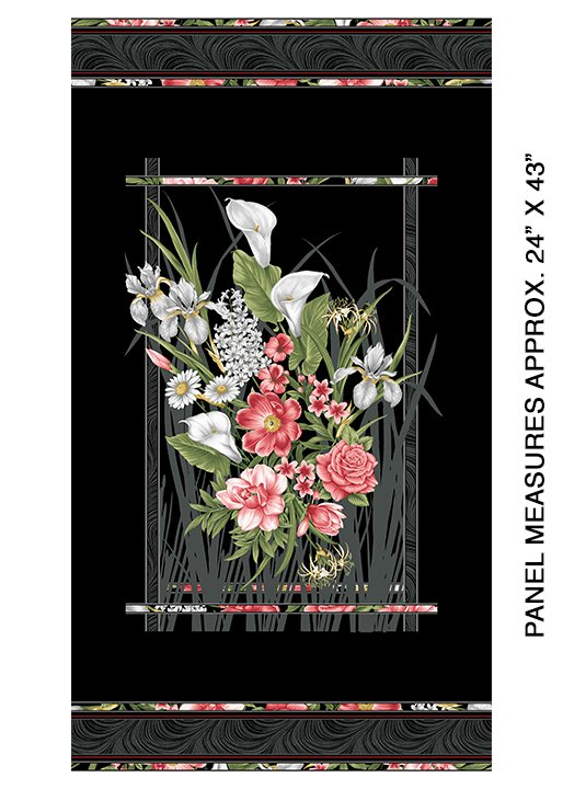 Magnificent Blooms panel by Jackie Robinson from Benartex Fabrics