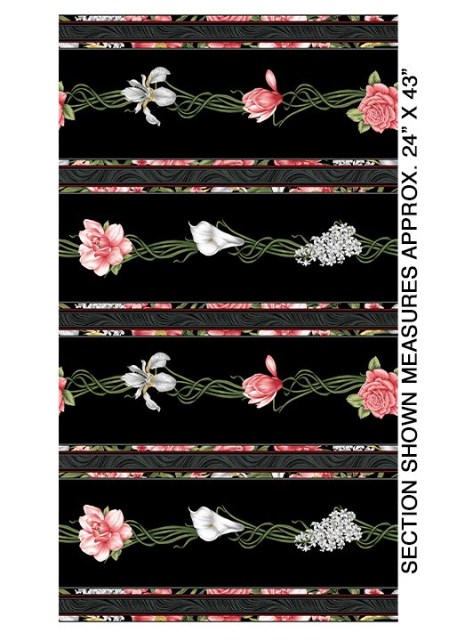 Magnificent Bloom Stripe by Jackie Robinson from Benartex Fabrics