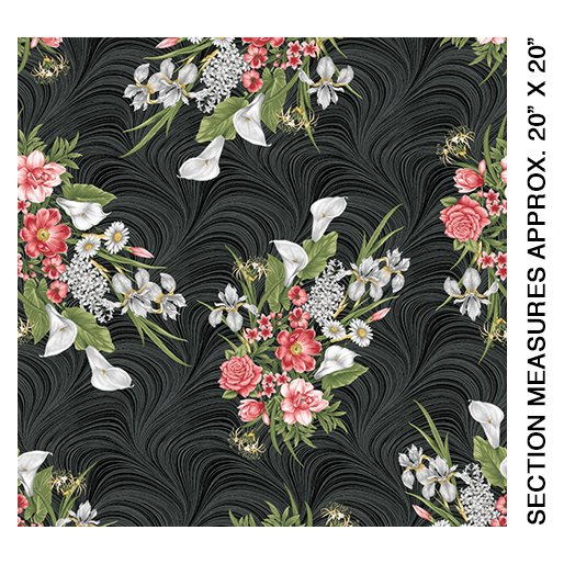 Magnificent Bloom Bouquet-Black- by Jackie Robinson from Benartex Fabrics