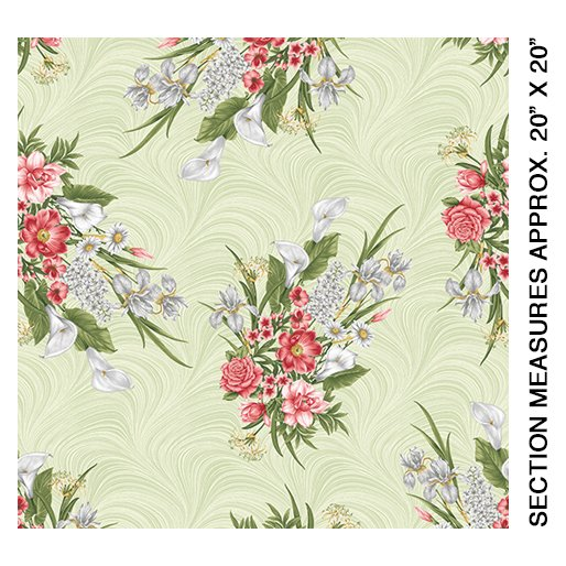 Magnificent Bloom Bouquet-Sage- by Jackie Robinson from Benartex  Fabrics