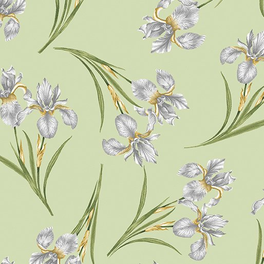 Magnificent Blooms Iris-Sage-By Jackie Robinson From Benartex Fabrics