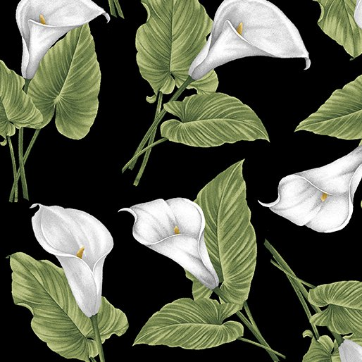 Magnificent Blooms Calla Lily-Black/Multi-by Jackie Robinson from Benartex Fabrics