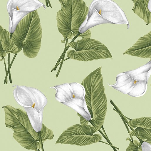 Magnificent Blooms Calla Lily-Sage-by Jackie Robinson from Benartex Fabrics
