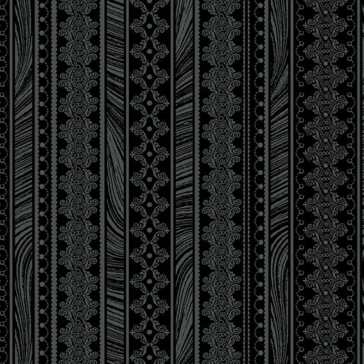 Mgnificent Blooms Nouveau Stripe-Black-by Jackie Robinson from Benartex Fabrics