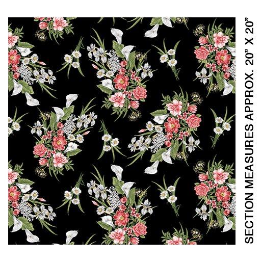 Magnificent Blooms Bouquet-Medium Black Multi-by Jackie Robinson from Benartex Fabrics