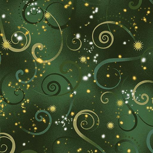 Dragon Fly Dance Swirling Sky - Evergreen - from Benartex