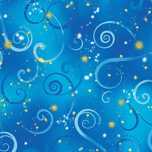 Dragonfly Dance Swirling Sky - Cobalt Blue - From Benartex