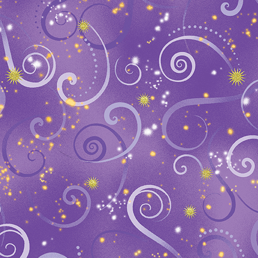 Dragon Fly Dance Swirling Sky - Medium Purple - from Benartex