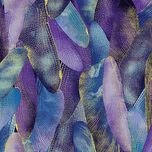 Dragonfly Dance Gilded Wings - Blue - Purple- from Benartex