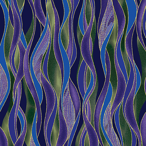 Dragonfly Dance Dancing Waves - Green - Purple - from Benartex
