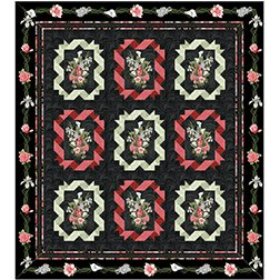 Twisted Ribbon Queen Kit in Magnificent Blooms from Benartex Fabrics
