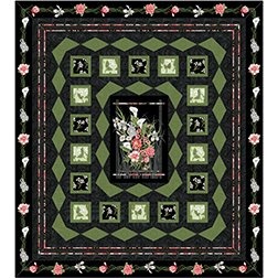 Log Cabin Frames Queen Kit in Magnificent Blooms from Benartex