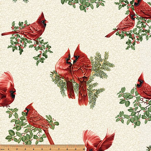 A Festive Season Backyard Cardinals in Cream from Benartex