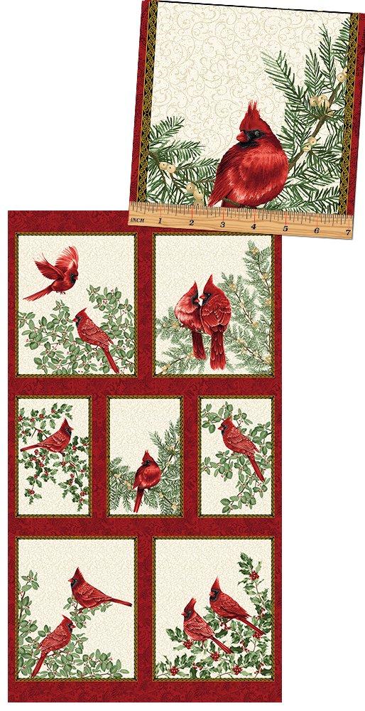 A Festive Season Backyard Cardinals Panel in Cream from Benartex