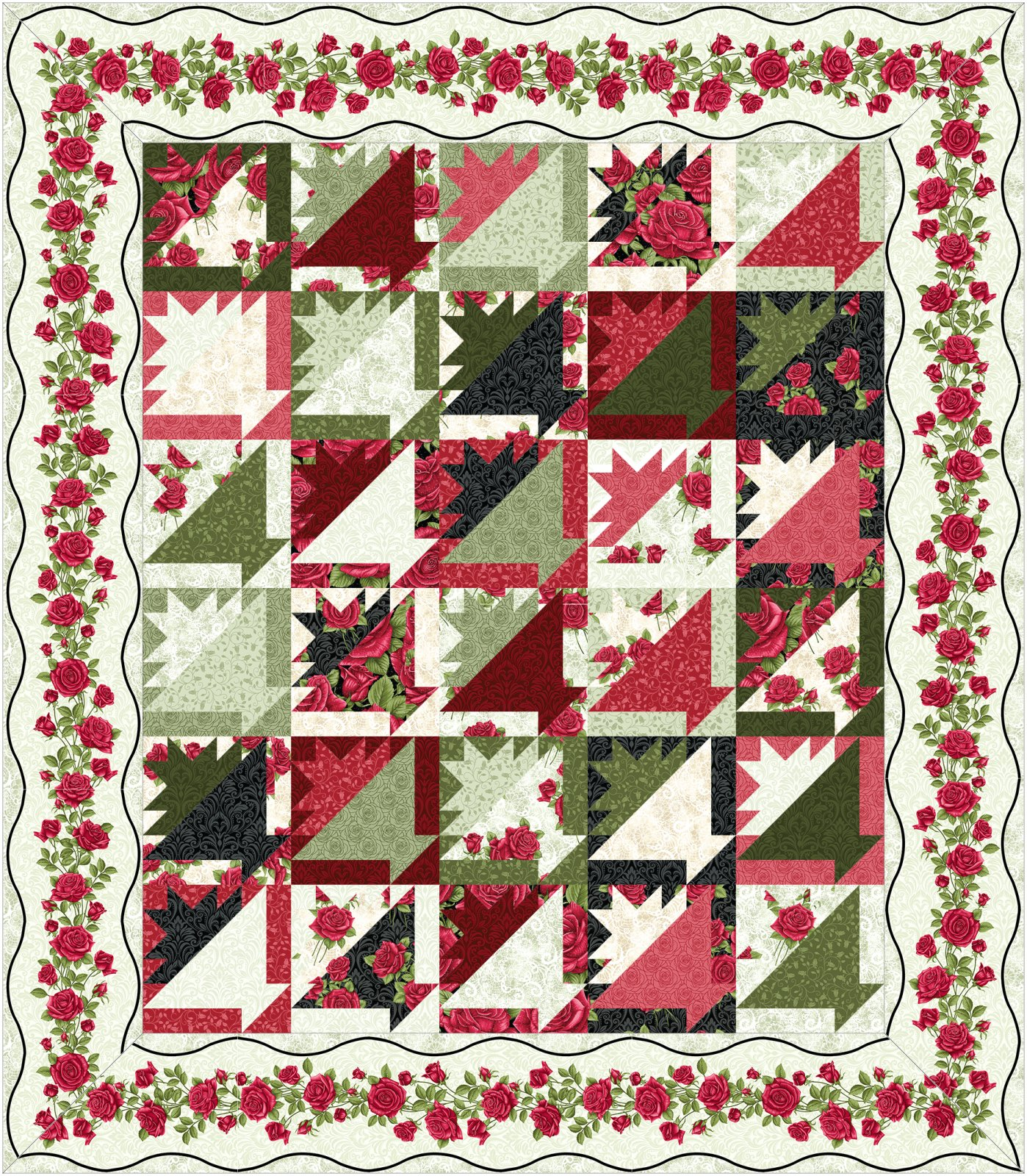 Rose Basket Kit Light border by Jackie Robinson of Animas Quilts