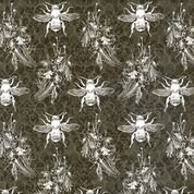 Bee Sweet - Bees Gray Honecomb Background- by Studio e