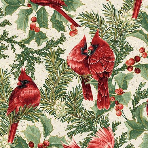 A Festive Season Birds in Bough Nestled Cream from Benartex