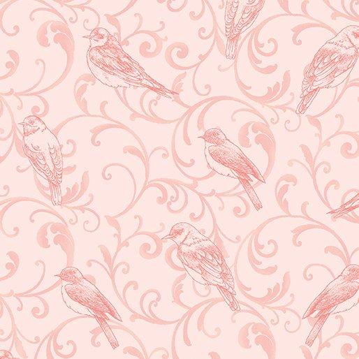 Bluebird Meadow Scroll Tonal Light Pink from Benartex