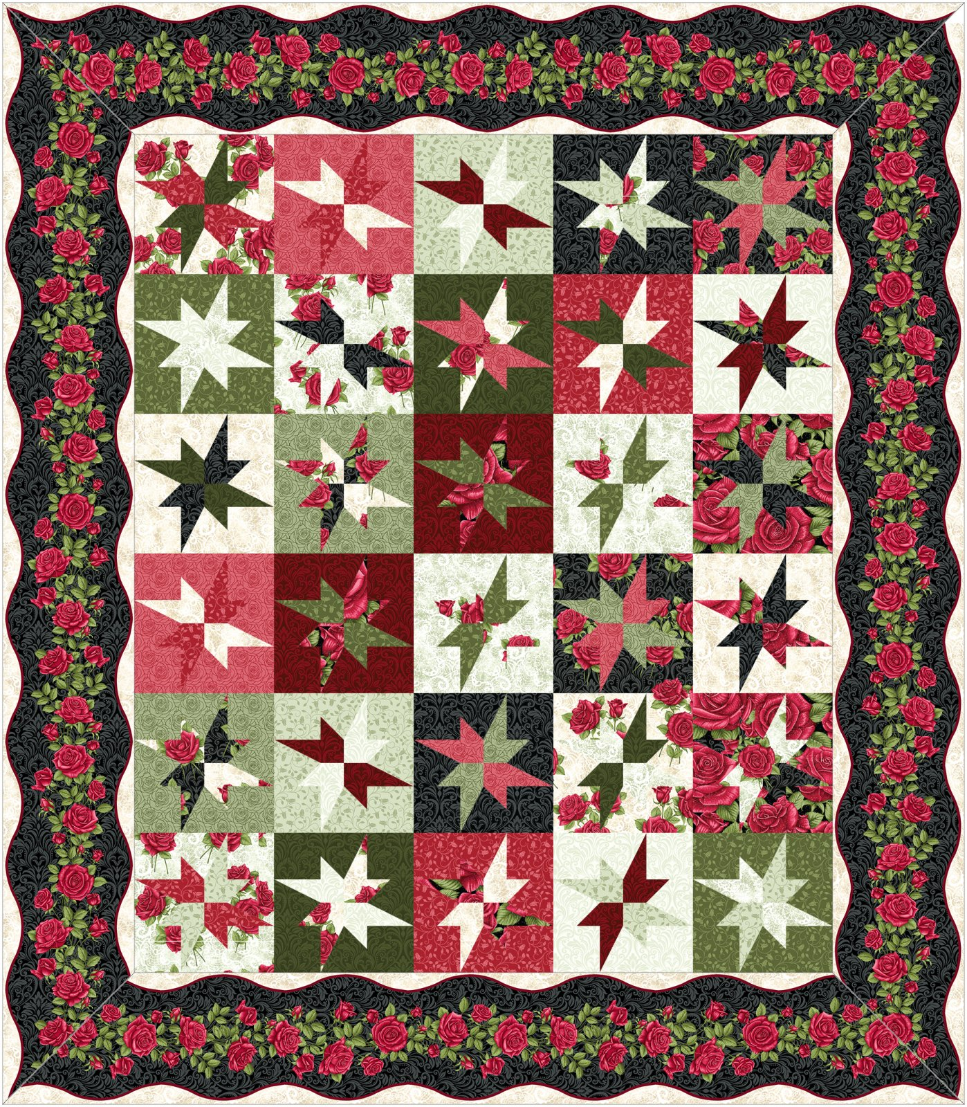 Eccentric Star Kit - Dark border - by Animas Quilts
