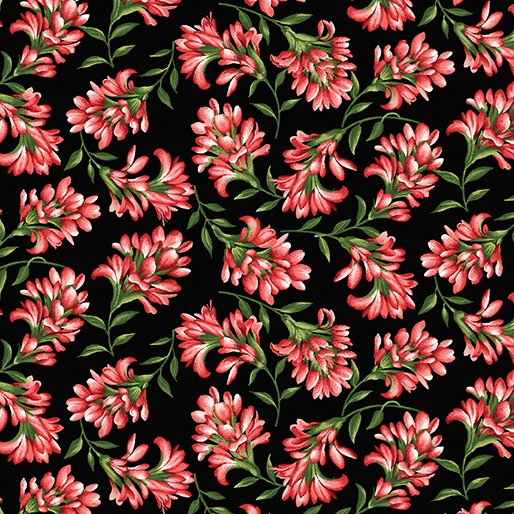 Wildflower Meadow Lupine Indian Paintbrush in Red from Benartex Fabrics
