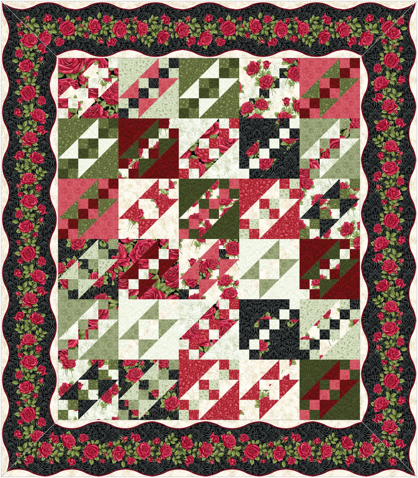 Jacobs Ladder kit - dark border -  By Animas Quilts Publishing