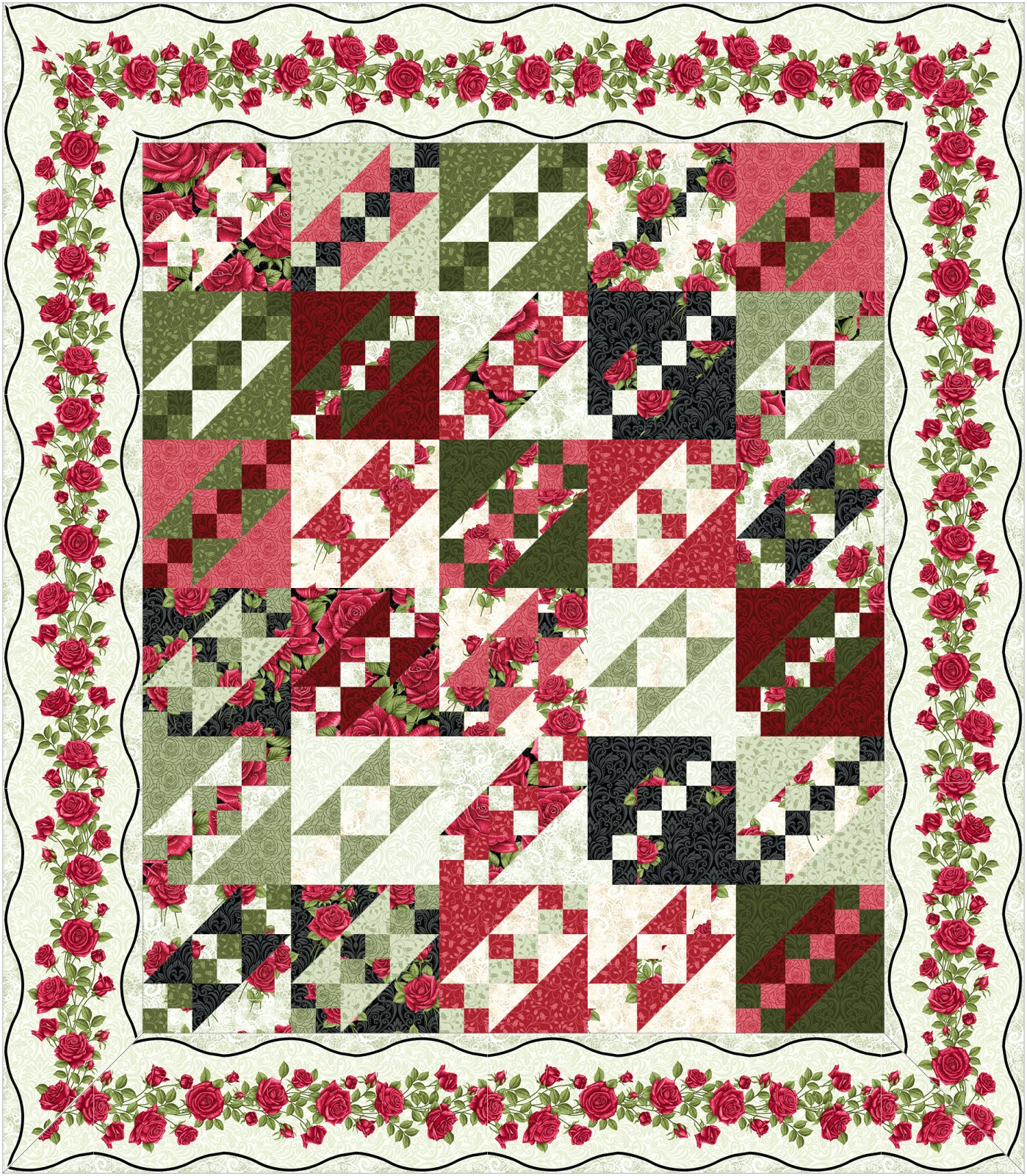 Jacobs Ladder kit - light border -  by Animas Quilts