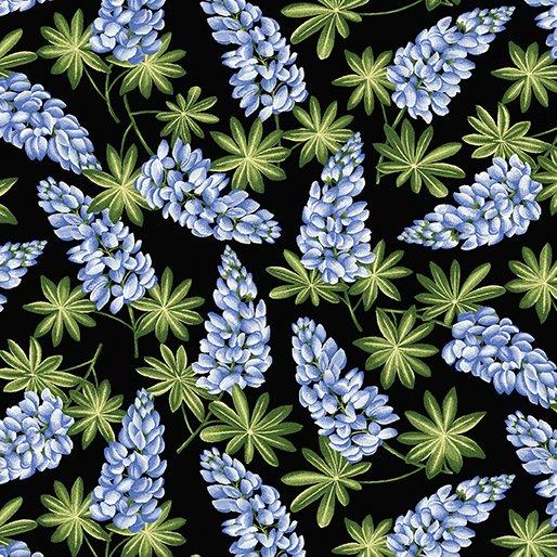 Wildflower Meadow Lupine Blue on Black from Benartex Fabrics