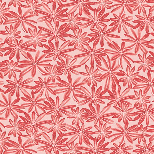 Wildflower Meadow Lupine Leaves in Red from Benartex Fabrics
