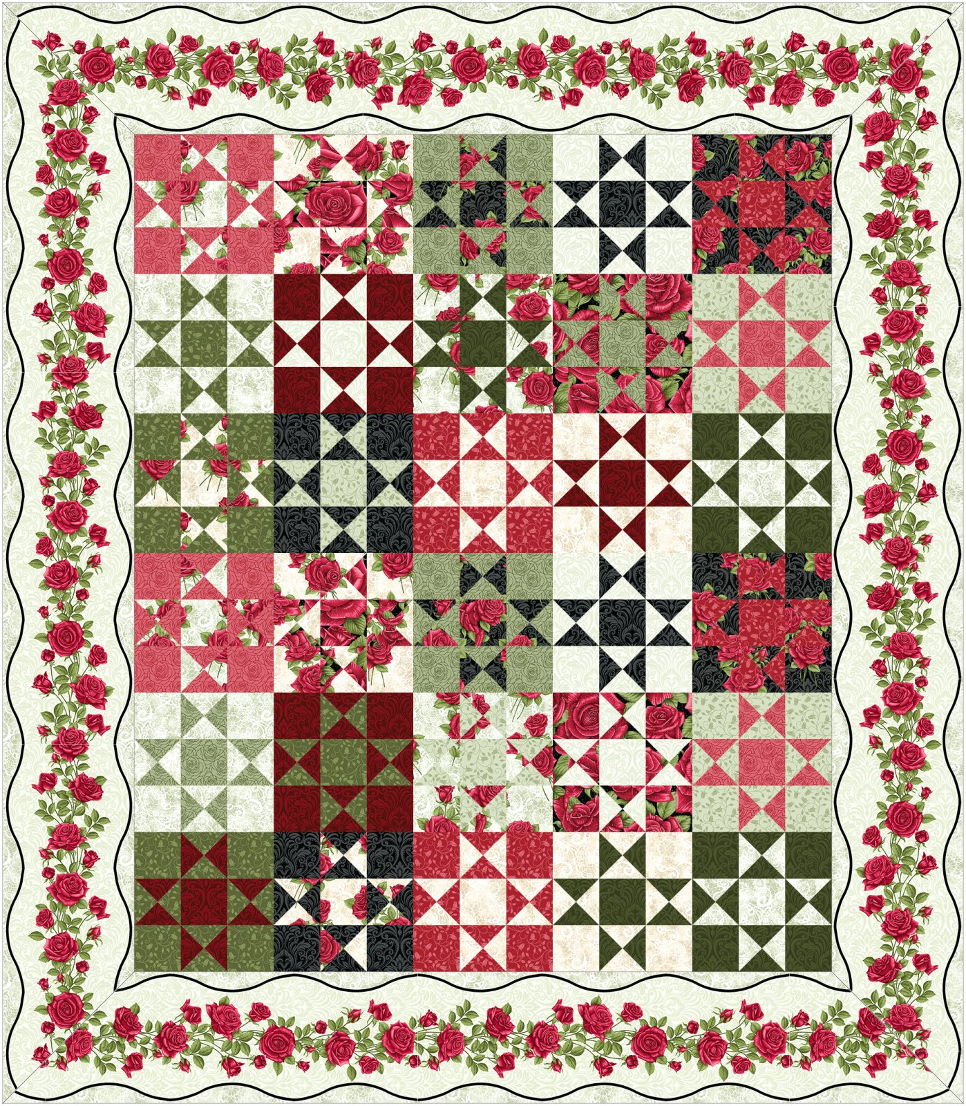 Ohio Star Kit - Light border - by Animas Quilts
