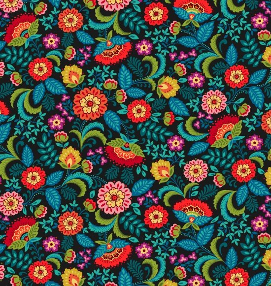 Pieceful Gathering Floral in Black from Studio E Fabrics