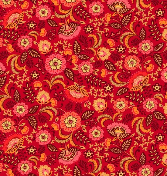Pieceful Gathering Floral in Red from Studio E Fabrics