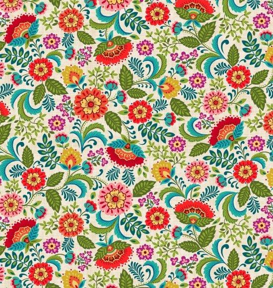 Pieceful Gathering Floral in Ecru from Studio E Fabrics