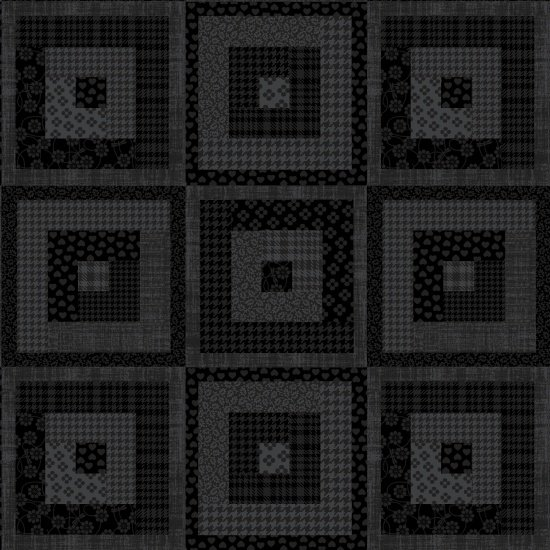 Pieceful Gathering Log Cabin in Black from Studio E Fabrics