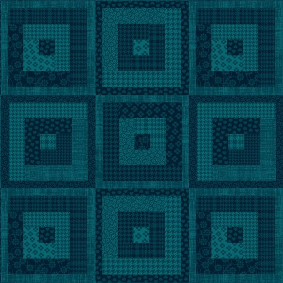 Pieceful Gathering Log Cabin in Teal from Studio E Fabrics
